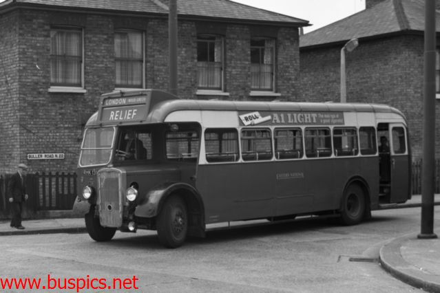 Bristol LL5G with 30ft E.C.W bus body in Wood Green 12 Nov 1961